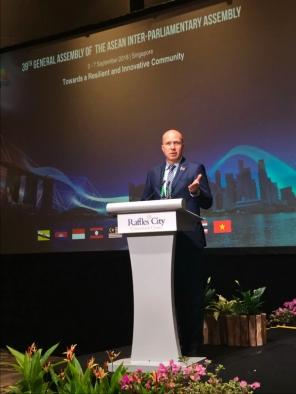 Выступление Д.Шевцова на пленарном заседании 39 Генеральной Ассамблеи МПА АСЕАН (Сингапур, 2018)